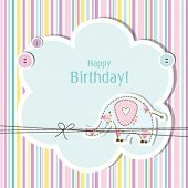 Birthday card with copy space Nice greeting card for birthday invitation, baby shower, scrapbook project