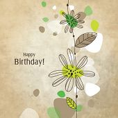 Birthday card with copy space Nice hand drawn illustration for greeting card, invitation, mother's day, scrapbook projects Modern nice color doodle with vintage old beige background