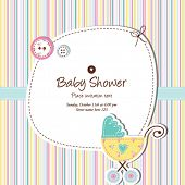 stock photo of buggy  - Baby card with copy space Nice greeting card for birthday invitation - JPG