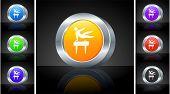 Pommel Horse Icon on 3D Button with Metallic Rim Original Illustration