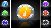 Icon on 3D Button with Metallic Rim Original Illustration