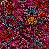 stock photo of motif  - Seamless traditional asian paisley colorful elements pattern background in vector - JPG