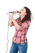 Beautiful girl with microphone isolated on white background