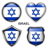 Israel flag icons, vector buttons.