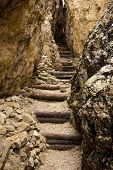 Stairs in a narrow rocky passage