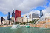 Chicago skyline panorama with skyscrapers and Buckingham fountain in Grant Park in the morning with