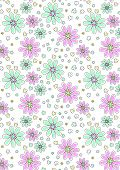 Light pink and aqua floral pattern.