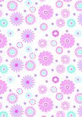 Pink Flowers Pattern On White Background.