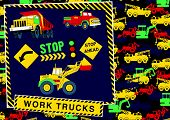 picture of truck-stop  - Stop! work trucks ahead. Illustrator swatch of repeat pattern included. - JPG