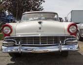 1956 White And Red Ford Victoria Fairlane Front View