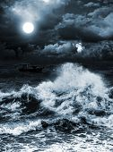 stock photo of moonlight  - night sea in the moonlight - JPG