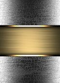 Grunge metal background with texture of wood and gold stripe