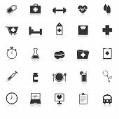 Health Icons With Reflect On White Background