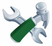 Crossed Hammer And Spanner Tools