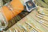 Detail of Spanish bobbin lace