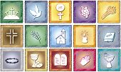 stock photo of baptism  - a illustration of colored religion icons isolated - JPG