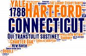 Connecticut tag cloud map