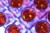 voorhoede van een groep van reageerbuisjes met vloeistof glanzend