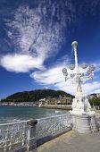shell beach, the bottom of the image stands Mount Urgull, San Sebastian, Guipuzcoa, Basque Country, Spain