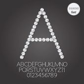 White Diamond Alphabet And Digit Vector