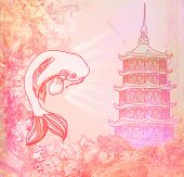 foto of koi tattoo  - japanese koi and ancient building background  - JPG