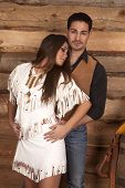 Cowboy And Indian Woman Hold Waist Look Down