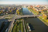 KRAKOW, POLAND - OCT 20: View of the Vistula River in the historic city center, Oct 20, 2013 in Krak