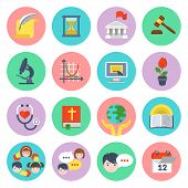 picture of time study  - Set of flat educational icons of different subjects and concepts - JPG
