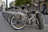 Some bicycles of the Velib bike rental service in Paris, France