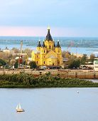 Alexander Nevsky Cathedral And Sailboat On Confluence Rivers Nizhny Novgorod