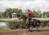 Rostov-on-don, Russia-september 22 - The Rider Rides A Horse With A Long Whip In Rostov-on-don