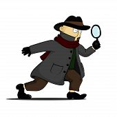 pic of private investigator  - detective investigating with a magnifying glass in his hands - JPG