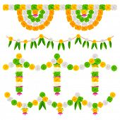 illustration of tri color flower arrangement for India festival decoration