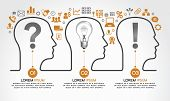 Background infographics with human heads, business icons and text. Business concept - the problem, t