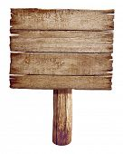 Wooden road sign board. Old post panel made from wood isolated on white.