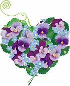 Heart Shape Is Made Of Beautiful Flowers - Pansy And Forget Me Not - Floral  Background.