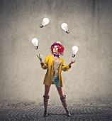 stock photo of juggler  - Joggling Clown - JPG