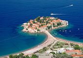 Sveti Stefan fortified village on island, Montenegro
