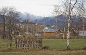 foto of zakarpattia  - Spring landscape of Ukrainian village in Carpathian mountains - JPG