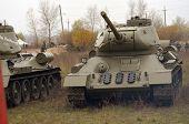 KIEV, UKRAINE -NOV 3: Soviet tank of WWII T-34 during historical reenactment of WWII, Battle for Kiev 1943 on November 3, 2013 in Kiev, Ukraine