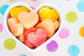Valentines Day Child Friendly Healthy Treat With Heart-shaped Fruit Cantaloupe, Watermelon And Pinea
