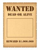 picture of outlaw  - Western wanted poster isolated on white background - JPG