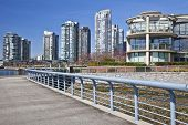 Pedestrian walkway along the waterfront in Vancouver, British Colombia, Canada.