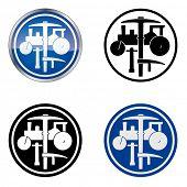 Plasterer and Road Worker �¢�?�? Traditional Craftsmen's Guild Vector Symbol