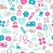 Seamless pattern composed from icons representing medical topics and health care.