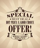 Special offer design template in retro style.