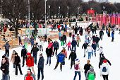 Crowds Of Townsfolk Skating Rink In Gorky Park