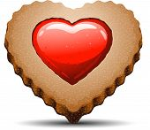 Heart Shaped Cookie On White Background