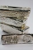 Stacked Silver Bullion Bars - Poured Ingots