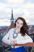 Dreaming Woman Looking Down At The City Of Tallinn